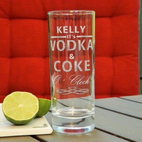 Personalised Engraved Vodka and Coke O'Clock Drinks Glass